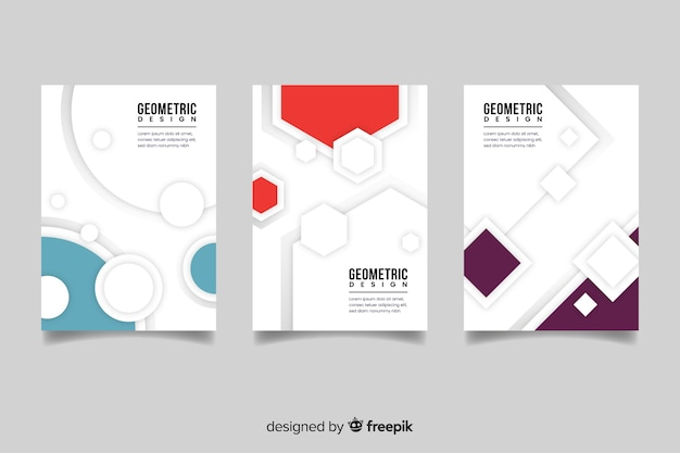 Cover template with geometric design set