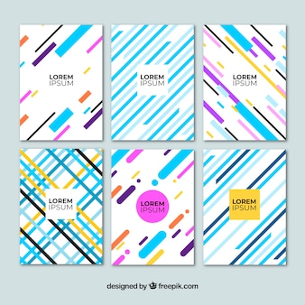 Cover template with geometric lines