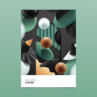 Modello di copertina con forme geometriche