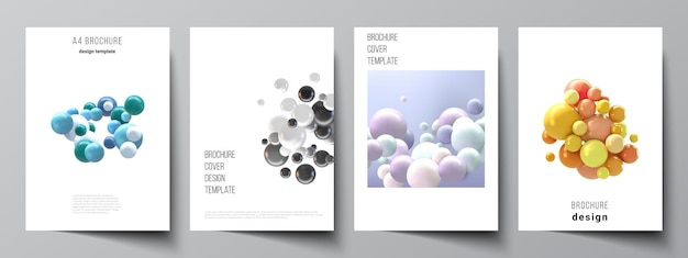 Cover  template with multicolored 3d spheres, bubbles, balls.