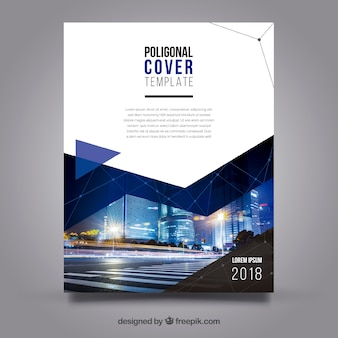 Cover template with polygonal style and buildings
