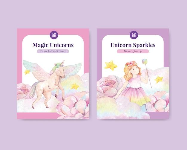 Modello di copertina con unicorno in stile acquerello