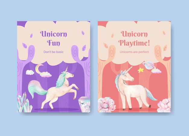 Cover template with unicorn in watercolor style