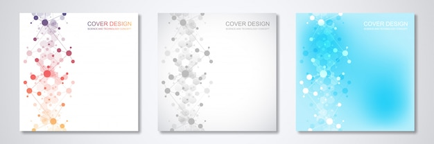 Cover templates with molecules background and neural network