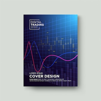 Cover trading. with illustrations of transparent red candle charts and curved charts.