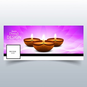 Cover with candles on a purple background for diwali