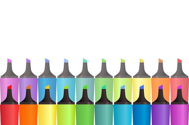 Обложка с маркерами цвета радуги и место для текста