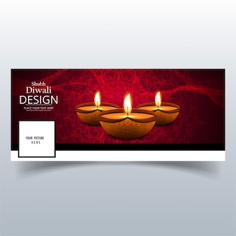 Cover with three realistic candles on a red background for diwali