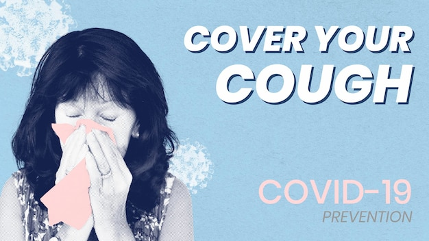 Cover your cough to prevent covid-19 spreading vector