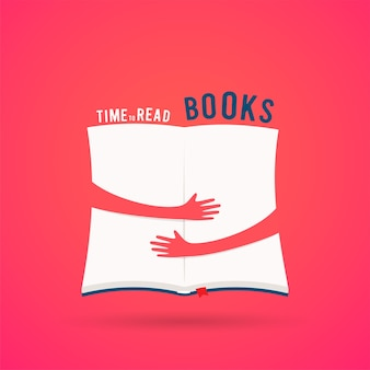 Covered opened book with hands hug
