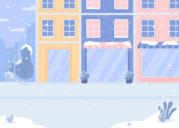Покрытая снежной улицей плоская цветная иллюстрация