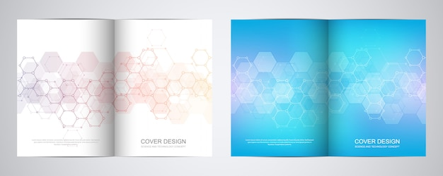 Covers or brochure for medicine, science and digital technology.