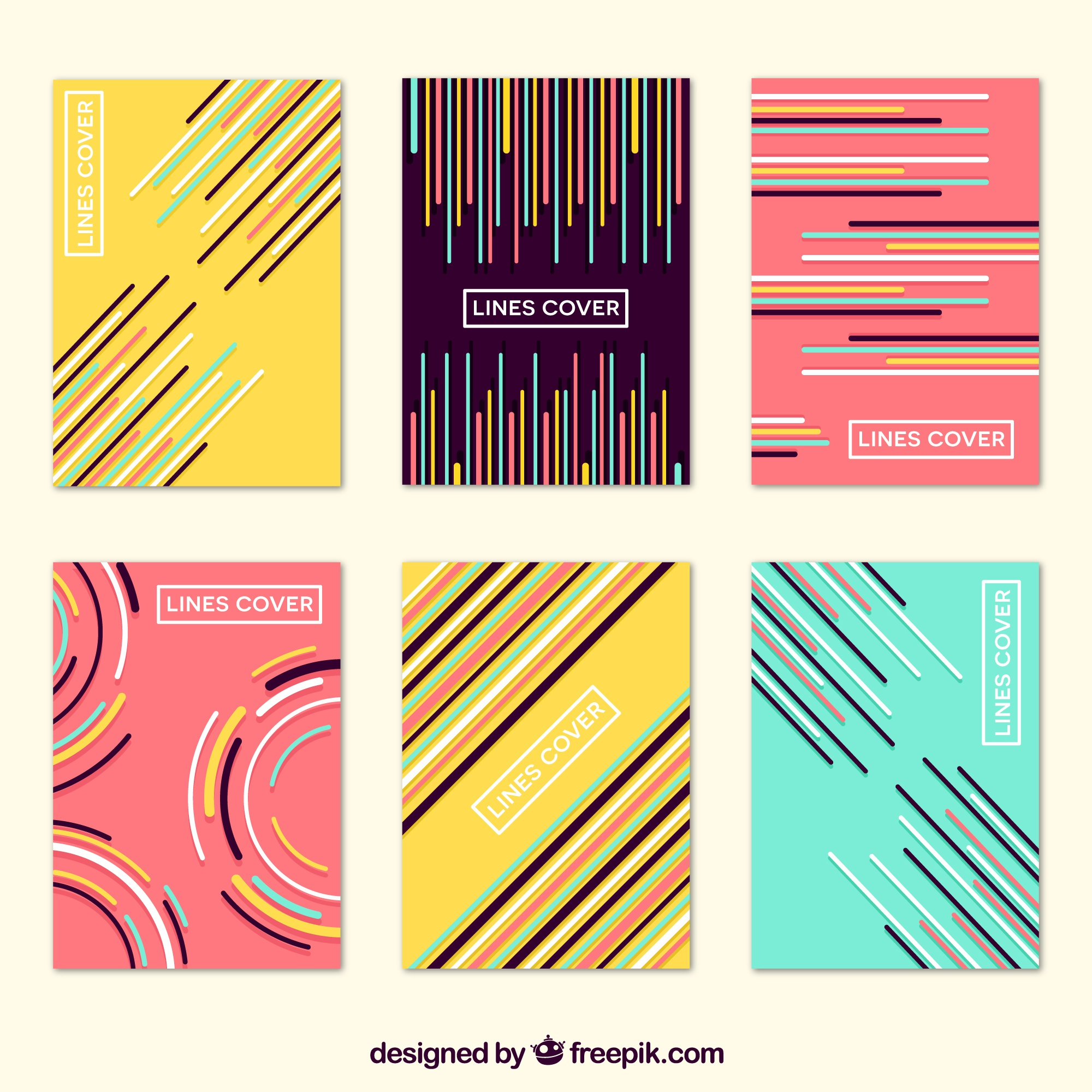 Covers collection with colors and lines