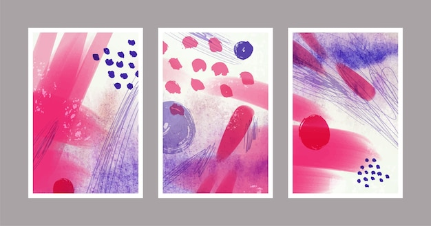 Covers collection with different watercolor shapes
