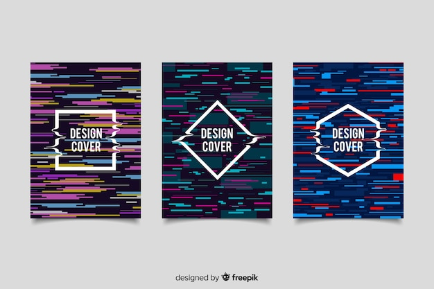 Covers design with colorful glitch effect