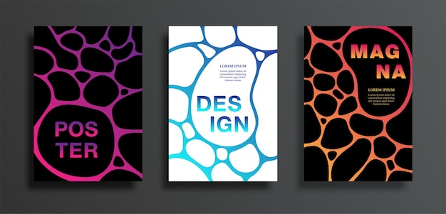 Covers or posters set with dark spot on colorful gradient background.
