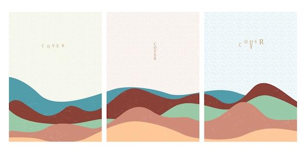 Шаблоны обложек с японскими узорами волн и рисованной геометрической кривой в восточном стиле.