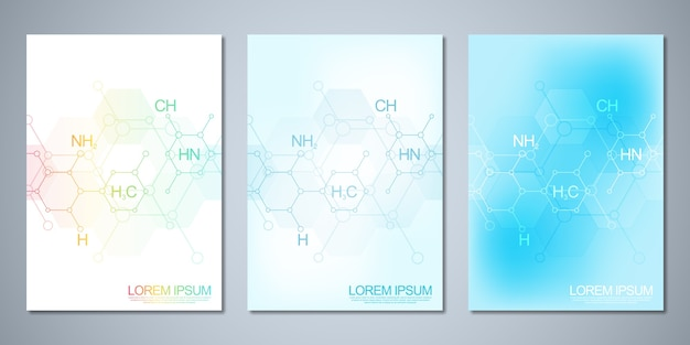 Covers with abstract chemistry background and chemical formulas