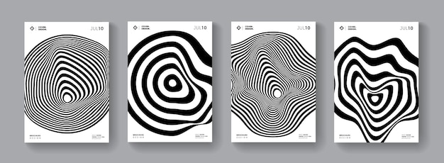 Covers with abstract minichrome shape. mimimal geometric poster.s set