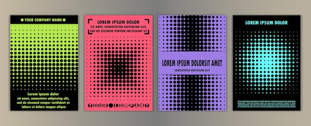 Covers with geometric halftone elements set a4 mock ups and templates
