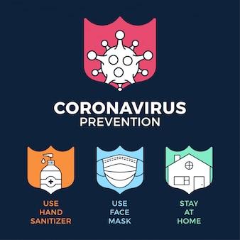 Covid-19の防止をすべて1つの図に示します。アウトラインシールドアイコンセットとコロナウイルス保護。家にいて、フェイスマスクを使い、手指消毒剤を使う