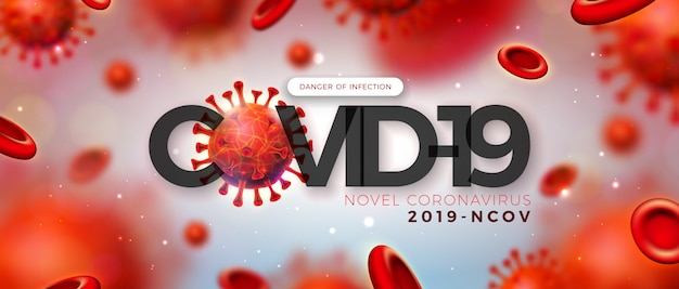 Covid-19。光沢のある明るい背景の顕微鏡ビューでのウイルスと血液細胞によるコロナウイルスの発生の設計。 2019-ncov corona virus illustration on dangerous sars epidemic theme for banner。