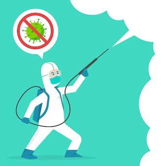 Covid-19コロナウイルス漫画イラスト概念と戦います。コロナウイルスを治します。人々はウイルスの概念を消毒剤と戦う。消毒洗浄スプレー。 2019-ncovの終わり。コロナウイルスを停止します。