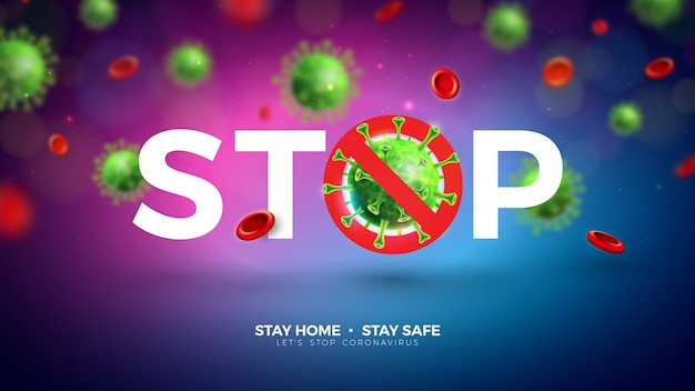 家にいる。明るい背景で落下するcovid-19ウイルス細胞でコロナウイルスのデザインを停止します。ベクトル2019-ncovコロナウイルスの発生図。安全を保ち、手を洗い、距離を離します。