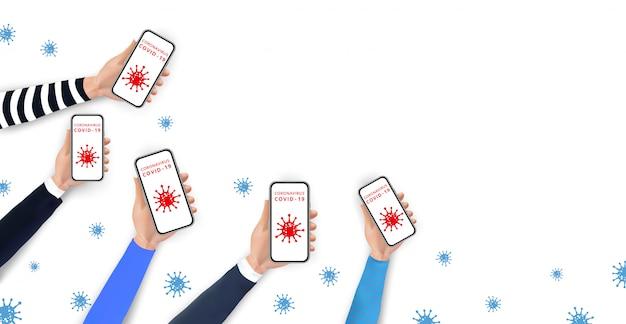 社会的距離とcovid-19拡散防止携帯電話を使用して。画面にコロナウイルスのアイコンとスマートフォンを保持している現実的な手。コロナウイルス2019-ncovの発生を阻止します。