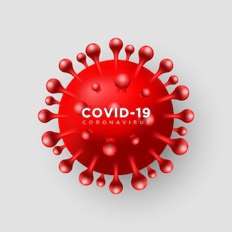 ウイルスcovid-19。リアルな3 d赤いウイルス細胞の背景。危険シンボルイラスト。