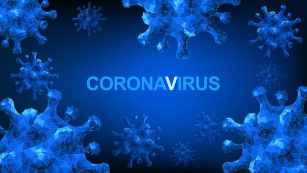 イラストコンセプトコロナウイルスcovid-19。説明します。 3 dウイルスの背景