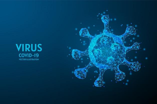 顕微鏡下でのクローズアップウイルス感染。ウイルス研究コンセプト、革新的な医療技術、covid-19コロナウイルス。 3 d低ポリワイヤフレームの図。