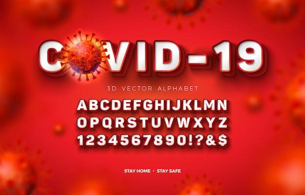 赤の背景にcovid-19ウイルスの大規模感染のフレームとシャドウを備えたベクター3dアルファベットフォント。レイヤー化されたabc、数字、特殊文字を含むモダンなコロナウイルスタイプフェイスデザインコレクション