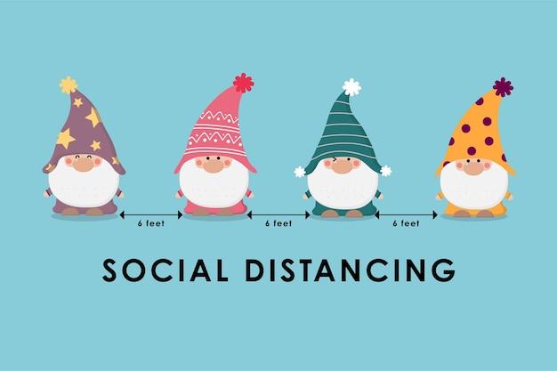 Инфографика о covid-19 и социальном дистанцировании с милыми гномами