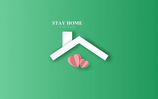 Пребывание дома остаться на фоне окружающей среды эко. домашний значок против вируса. концепция карантина и пребывания дома, безопасная зона. covid-19 awareness.space для вашего текстового баннера на сайте. бумажное сердце вектор