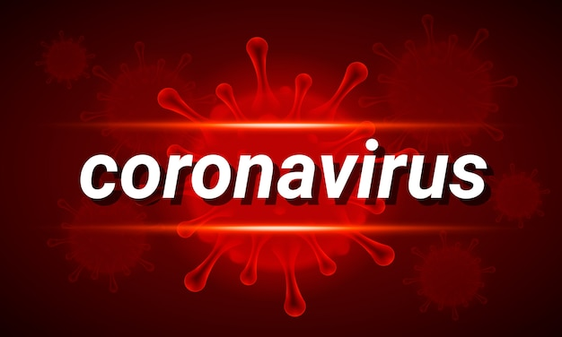 Covid-19 баннер с текстовым коронавирусом и молекулярной клеткой