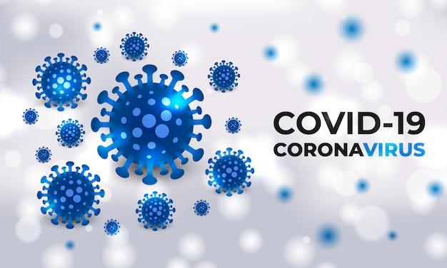 Covid-19細胞は、タイポグラフィで白い医療背景に青色の細菌です。