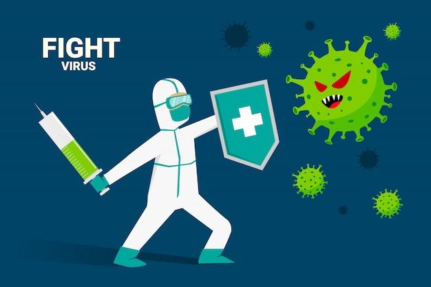 Бой covid-19 corona virus мультфильм иллюстрации концепции. вылечить коронавирус.
