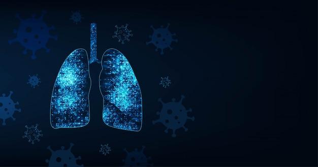 코 비드 -19 (코로나 바이러스). 진한 파란색 배경에 인간 폐의 추상 이미지. 바이러스 폐를 감염.