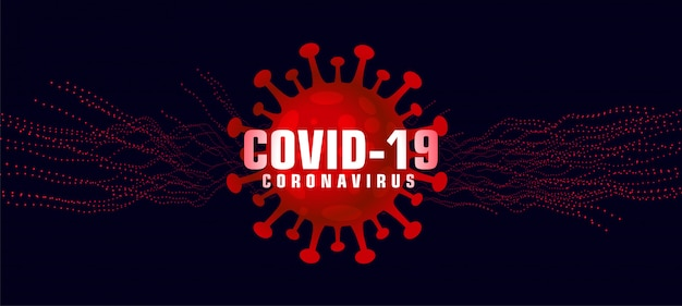 Covid-19 coronavirus background with microscopic red virus