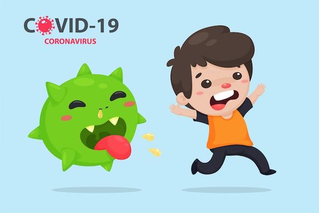 Covid-19 or coronavirus. chinese cartoon sick with flu that runs away from the corona virus