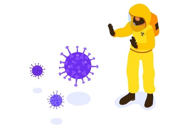 化学防護服カバーオールと防毒マスクを着用した医師によるcovid-19コロナウイルスのコンセプトがコロナウイルスを阻止
