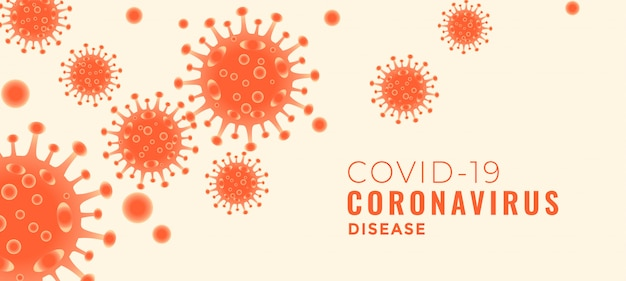 Covid-19 coronavirus disease banner with floating viruses