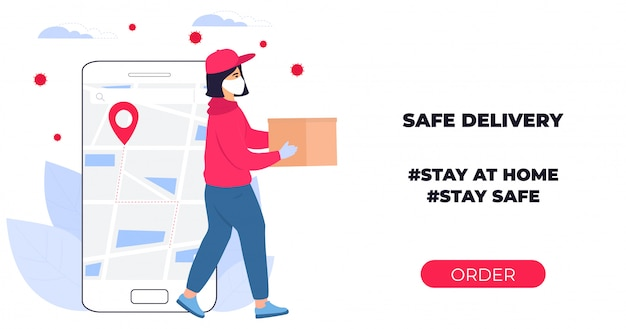 Covid-19. coronavirus epidemic. courier girl in a protective medical mask carries a parcel in his hands. online ordering of goods and food. safe delivery. web page design templates. stay home.
