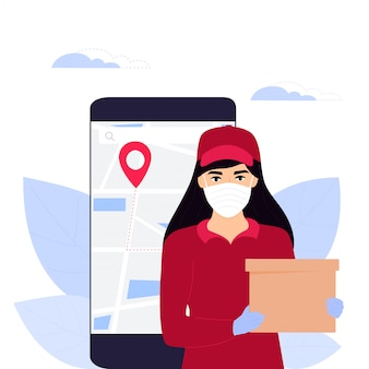 Covid-19. coronavirus epidemic. courier girl in a protective medical mask holds a parcel. online ordering of goods and food. safe delivery. web page design templates. stay home.