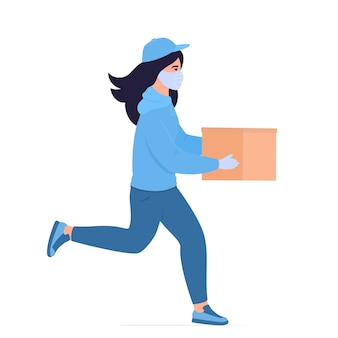 Covid-19. coronavirus epidemic. safe food delivery. the courier girl in a protective mask delivers food
