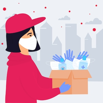 Covid-19. коронавирус эпидемия. добровольная девушка доставляет посылку с медицинскими защитными масками, перчатками и дезинфицирующими средствами.