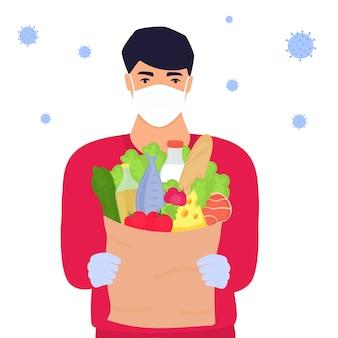 Covid-19. коронавирус эпидемия. волонтер человек держит посылку с едой. служба доставки.