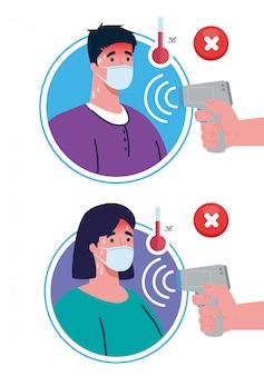 코 비드 19 코로나 바이러스, 체온을 측정하는 적외선 온도계를 들고 손, 커플 온도 확인