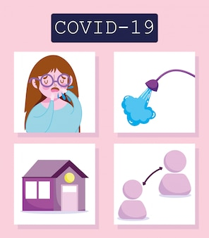 Covid 19 coronavirus infographic, girl and prevention tips, social distancing quarantine and washing hands